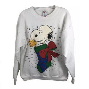 PEANUTS Snoopy Woodstock Vtg Christmas Sweatshirt